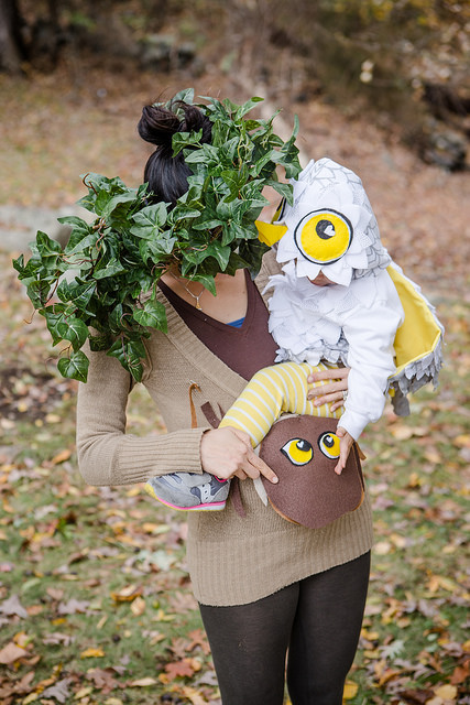 diy mom and baby tree owl halloween costume
