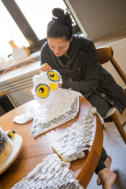 diy homemade owl halloween costume sewing