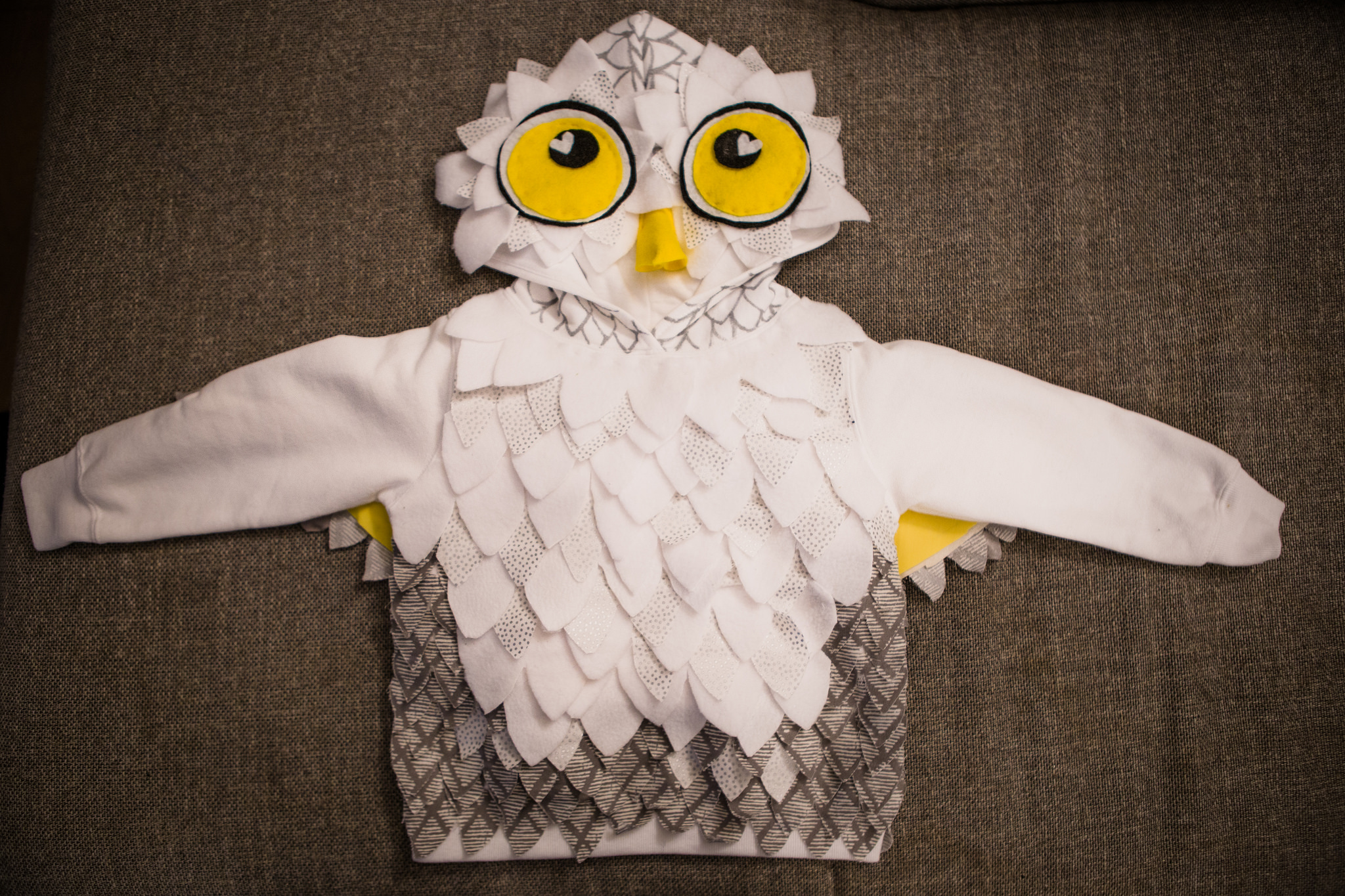 diy homemade owl halloween costume front view