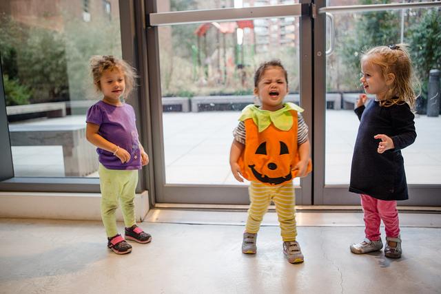 pumpkin carving toddler fighting