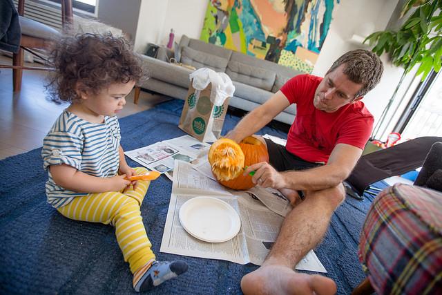 pumpkin carving little pumpkin with dad